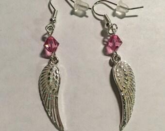 Rose Swarvoski crystal and AB glitter Angel wing earrings.