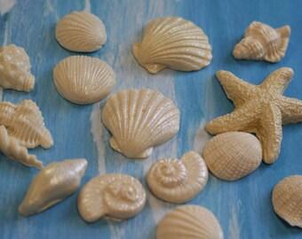 Edible Pearlized Seashells for Cakes/ Cupcakes/ Gumpaste Shells/ Fondant Shells