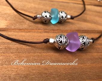 Leather Sea Glass Choker, Purple Sea Glass Choker, Sea Glass Choker Necklace, Sea Glass Jewelry, Boho Choker, Adjustable Choker, Beach Glass