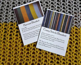 Set of 4 Crochet Pattern Postcards - Harvest Blanket & Crazy Stitch Blanket