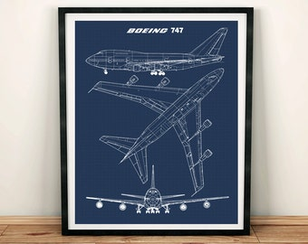 Airplane blueprint etsy 747 blueprint art jumbo jet blueprint art instant download boeing 747 wall malvernweather Gallery