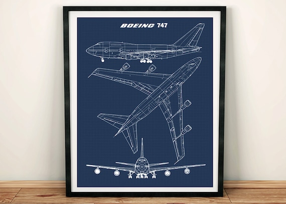 747 blueprint art jumbo jet blueprint art instant download malvernweather Gallery