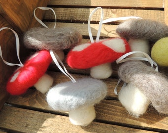Needle felted toadstool hanging decoration
