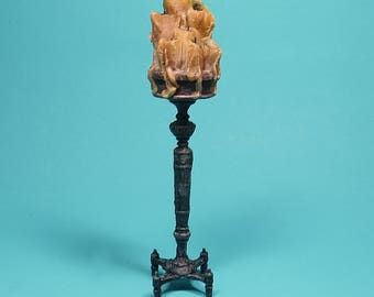 Collector Miniature 1:12 Scale SPOOKY CANDLE STAND  full of dripping Candles. Aged, ooak, castle, haunted house, Halloween
