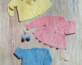 Delightful 1950s Knitting Pattern for Baby Matinee Coats - Robin Perle no. 392 - Knit in 4-ply