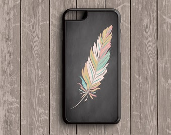Vintage Feather, Chalkboard Background - iPhone 6s, iPhone 6s Plus, iPhone 7s, iPhone 7s Plus, Samsung S6 Phone Case