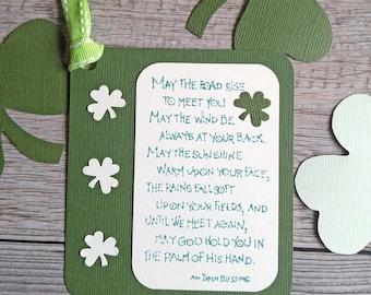 Irish Blessing Tags, May the Road Rise to Meet You, Irish Wedding, St. Patrick's Day, Shamrock Tags, Handmade Green Tags, Irish Saying