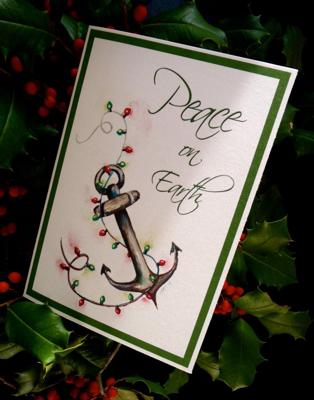 Nautical Anchor Christmas Lights Single Holiday Card Us