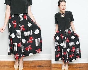 High Waist Floral Boho Skirt // 90s Button Down Maxi Skirt // Black White Red Elastic Waistband Kathie Lee Size 14 Medium