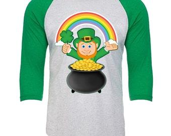 Leprechaun Shamrock Pot of Gold rainbow - Unisex Tri-Blend 3/4 Sleeve Raglan Baseball T-Shirt - Sizes XS-3XL in 14 Colors!