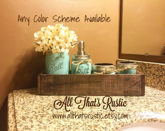 Rustic Planter Box Mason Jar Bathroom Set, Bathroom Set, Mason Jar Decor,  Mason