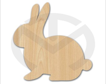 Bunny Rabbit - 01683- Side View,  Unfinished Wood Laser Cutout, Wreath Accent, Door Hanger, Ready to Paint & Personalize, Various Sizes