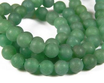 15 Inch Strand - 8mm Round Frosted Green Aventurine Beads - Gemstone Beads - Jewelry Supplies