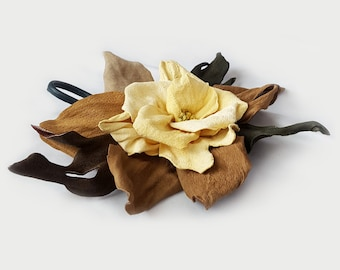 Leather Flower Brooch, yellow brown green real leather, gift for her, gift for mom, handmade accessories