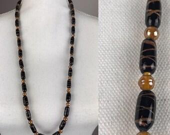 Vintage Black and Copper Color Venetian Murano Aventurine Glass Bead Necklace