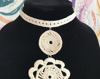 Handmade crochet necklace, made to order, elegant necklace