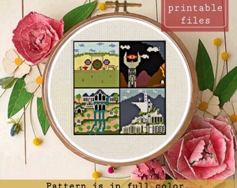 Lord of the Rings Shire, Rivendell, Gondor cross stitch Pattern instant download pdf