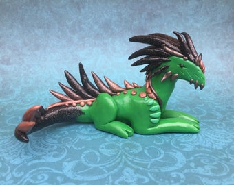Spiky Green Dragon Polymer Clay Sculpture