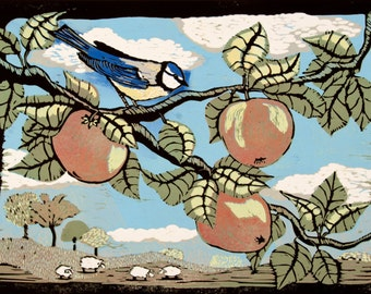 Linocut, bird, songbird, apple tree, apples, country side, sheep, blue sky, green fields, rain shower, printmaking, bird in tree, red apples