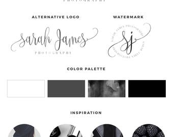 Watercolor Logo, Photography logo, Blog logo kit, blog branding kit, Premade logo, Premade logos, Business logo, Calligraphy logo