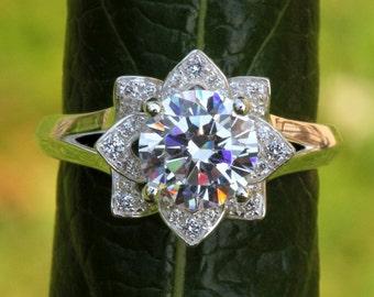 PLATINUM - Unique Flower Rose Lotus Diamond Engagement or Right Hand Ring Setting Semi mount - Plain band -fL02