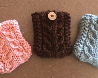 Hand knit gift card holder, business card holder, credit card holder, gift card-igan.