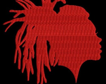 red silhouette of a girl ,  three sizes- Machine Embroidery designs