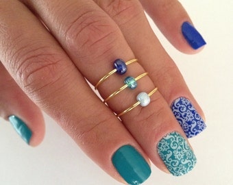 3 Midi Ring Set in Ombre Blue, stacking knuckle ring set with gradient blue glass beads