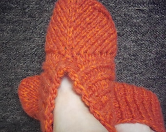 Orange hand knit slippers,  thick angora.lambs wool bed socks .UK size 4-11.Kozizake .