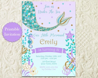 Teal Purple Gold Mermaid Summer Pool Bday Birthday Party Invitation, Purple Teal Under The Sea Girls Birthday Party Printable Invite