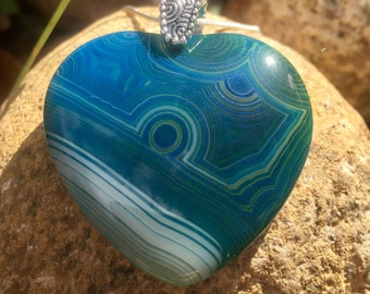 Stunning one of a kind Agate Pendant Necklace with Sterling Silver Chain - Free Shipping to the US