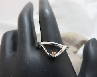 Sterling silver with cognac diamond ring