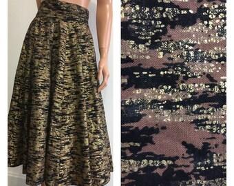 1950's Full Skirt Black Full Skirt Gold Full Skirt 50's Circle Skirt 50's Flared Skirt 1950's Gored Skirt 1950's Full Skirt Small