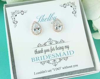 Bridesmaid Earrings Rose Gold, Bridesmaids Gift, Bridesmaid Stud Earrings, Bridesmaids Gifts, Heather Rose Gold Bridesmaids Earrings