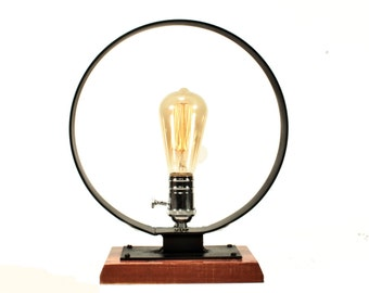 Edison Table Lamp | Industrial Edison Lamp | Industrial Bare Bulb Table Lamp | Industrial Steampunk Lamp