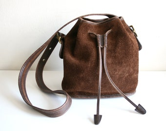 Brown Coach Soft Suede Bucket Drawstring Bag