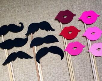 Schnurrbart und Lippe Photo Booth Requisiten. Photo Booth Requisiten. Schnurrbart und Lippen. Schnurrbart. Lippen. Verschiedene Stile und Farben. Set mit 12 Stück