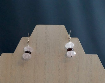 Rose Quartz and Garnet Earrings