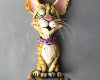 Orange Tabby Cat Ceramic Wall Sculpture