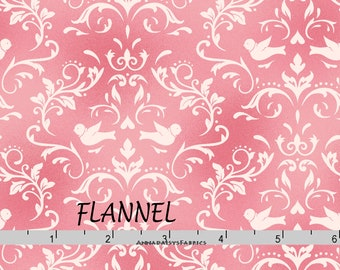 Peach & Pink Birds Floral Flannel, Pink and Peach Quilt Flannel, Maywood Welcome Home MASF 8365 P, Damask Print Cotton Flannel Yardage
