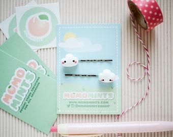 White Cloud Hair Pins - Polymer clay Bobby Pins - Fluffy Cloud Charm Hair Clip