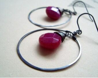 Large Hoop Earrings - Dark Fuchsia Jade. Sterling Silver Metalwork Artisan Jewelry Fall Fashion Holiday Jewelry Gifts Under 50