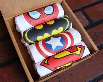 Set of 4 Superhero Baby Bodysuits in Gift Box
