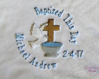 Christening blanket - Baptism boys' blanket - Birth Blanket - Cross baby blanket - religious blanket - Baby Shower Gifts- Baby girl Gifts-