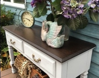 SOLD! Vintage Farmhouse SERVER Buffet Sideboard Media Cabinet French Country Cottage - Beach Chic - Rustic - Coastal