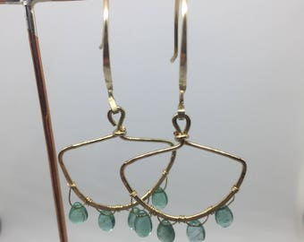 Handcrafted Columbian Emerald and Gold Byzantine Hoops