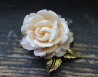 Gorgeous Pale Peach Rose Brooch with Gold Leaves