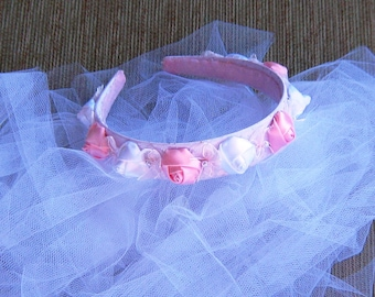 "Roses and Bows Bridal Headband---""Callista"""
