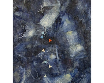 Starry Sky Collage- 12x16- Original Abstract Painting- Paper Art- Midnight Dance- Star Charts, Constellation, Music