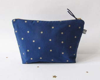 Zippered toiletry bag Navy Blue with gold dots